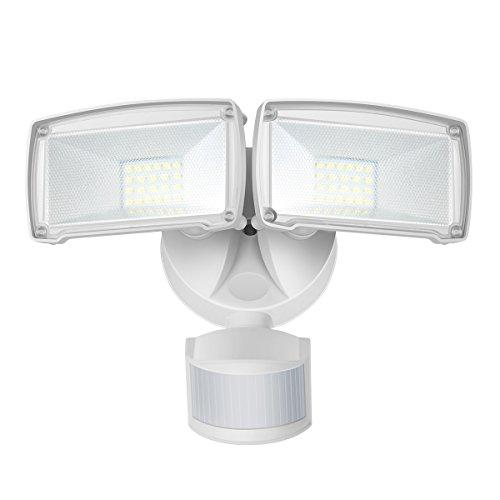 Dual-Kopf Bewegungs-Sensor-Licht 22W LED-Außenstrahler mit einstellbarem Bewegungsmelder 1600lm 5000K Tageslichtweiß IP65 Wasserdicht LED Fluter für Hof Garten Deck Garage