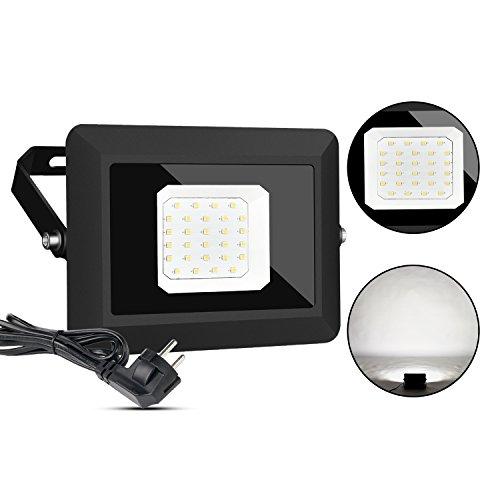 LED Fluter Außen Scheinwerfer Lampe mit Stecker 30W IP65 Wasserdicht Strahler Licht Wandleuchten 5000K Tageslichtweiß Energieklasse A Gartenleuchten für Garten Deko Auffahrt Garage Beleuchtung