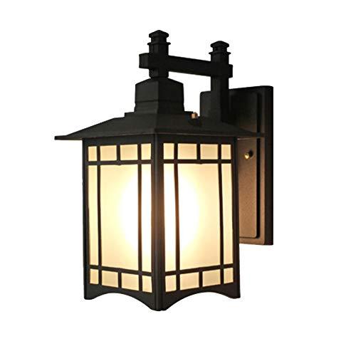 Antik Aluminium Wandleuchten InnenAussen Schwarz Vintage Außenleuchte mit Glas Lampenschirm E27 1 Licht Wasserdichte Design Außen Wandlampe IP44 für Outdoor Foyer Hof Park Gang Terrasse 241834CM
