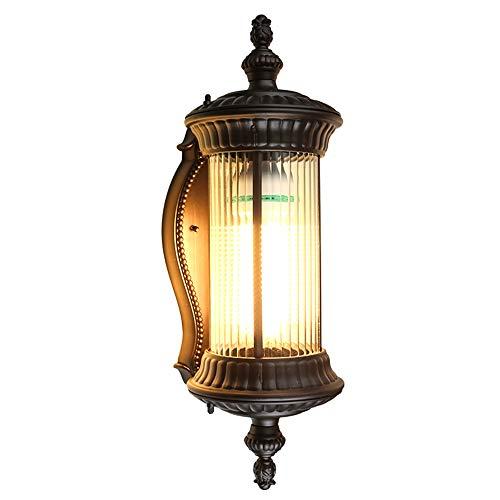 Außenwandleuchte Braun Vintage Wasserdicht IP54 Haus Wandlampe Aluminium Und Glas Lampenschirm Retro Außenlampen Terrasse Hauseingang Balkon Garten Eingangsbeleuchtung 255  20  58 Cm