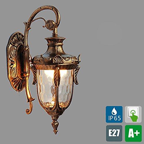 Europäische Außen-Wandleuchte IP65 Wandlampe lackiertes Aluminium Retro Vintage Glas Lampenschirm Ambiente Beleuchtung Außenwand leuchten Max 40 W 1E27 Golden