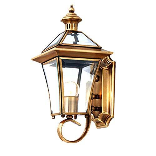 HONGOU Antik Retro Wandleuchte Außen Wasserfest Wandlampe IP44 Golden Kupfer und Glas Lampenschirm Wandlichter E27 Lantern Haus Design Treppen Flur Lampe 16H37CM Max 40W