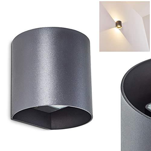 Moderne LED Außen-Wandleuchte VIKOM aus Metall in Anthrazit – Wandspot für die Fassade im halbrunden Design – Wandstrahler 3000 Kelvin – 540 Lumen – Lampenschirm aus Glas – Wandspot