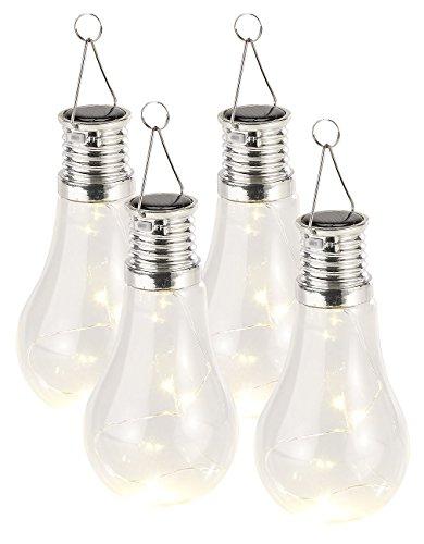 Lunartec Solar Birnen 4er-Set Solar-LED-Lampen in Glühbirnen-Form 3 warmweiße LEDs 2 Lumen LED Solar Birnen
