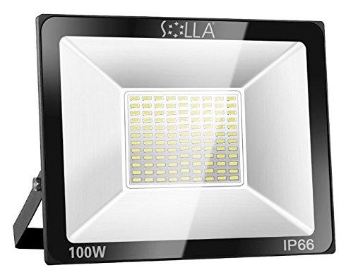 SOLLA 100W LED Strahler Flutlichtstrahler Baustrahler – Sicherheitsleuchte 550W Äquiv 3000K Warmweiß 8000LM Wasserdicht IP66 Außenwandleuchte 24 Monate Garantie