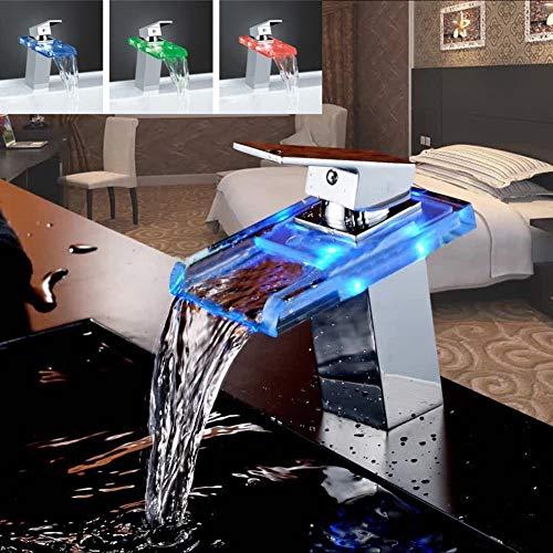 FEIDA Wasserhahn LED Licht Glas Waschbecken Wasserhahn Wasserfall Bad Küche Waschbecken Kupfer Wasserhahn - Chrom