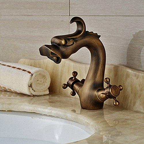 Vintage Wasserhahn Frideko Antik Eitelkeit Drache Messing Waschbecken Wasserhahn warmes und kaltes Waschtischarmatur für Badezimmer Küche Toilette Garten