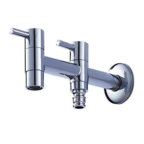 Zirtaps Doppelauslauf Dual Control Waschmaschine Wasserhahn G12 Outlet - Waschbecken Wasserhahn Single Kaltwasser Bibcock - Volles Kupfer Verchromt Für Balkon Garten Badezimmer Waschraum
