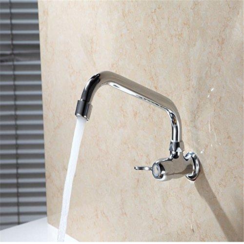 Kupfer Küche Drehscheibe Wasserhahn an der Wand Einlochmontage Einzelne Kälte Waschbecken Wäschebecken