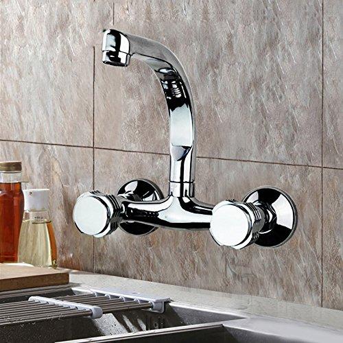 in-Wand Küche heiß und Kalt Wasserhahn Waschbecken Waschbecken Wasserhahn Balkon Doppelgriff Doppel-Loch Kupfer Mischwasserventil