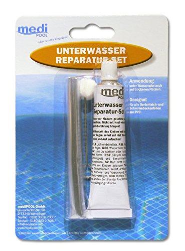 Unterwasserreparatur-Set von mediPOOL - Spezial-Unterwasserkleber Reparatur-Set - Unterwasser Reparatur-Set für Pool - Schwimmbecken - Innenhülle - Folienreparatur