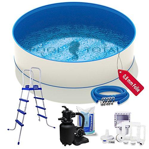 Pool-Set Komfort Ø 350 x 120m 06mm Stahl 08mm Folie mit Keilbiese