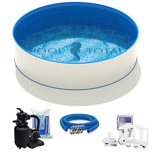 Pool-Set Komfort Ø 350 x 135m 07mm Stahl 06mm Folie mit Keilbiese