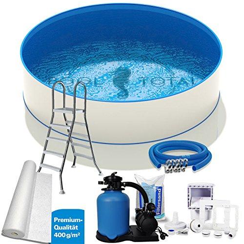 Pool-Set Premium Ø 350 x 135m 07mm Stahl 06mm Folie mit Keilbiese