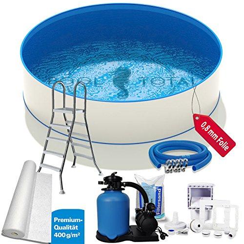 Pool-Set Premium Ø 350 x 135m 07mm Stahl 08mm Folie mit Keilbiese