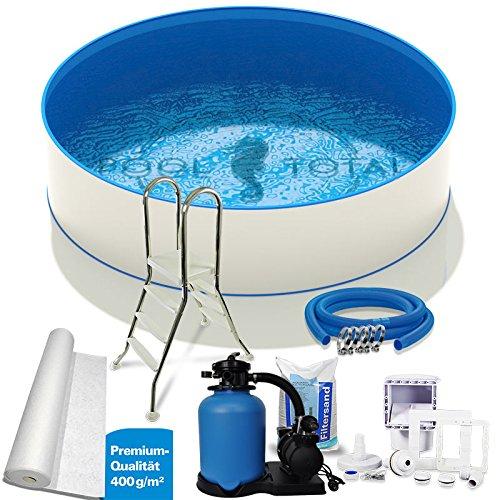 Pool-Set Premium Ø 400 x 090m 06mm Stahl 06mm Folie mit Keilbiese