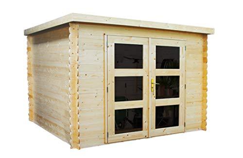 Alpholz Gent Gerätehaus Holz mit Boden  Gartenhaus klein mit Dachpappe  Geräteschuppen naturbelassen ohne Farbbehandlung 225 x 210