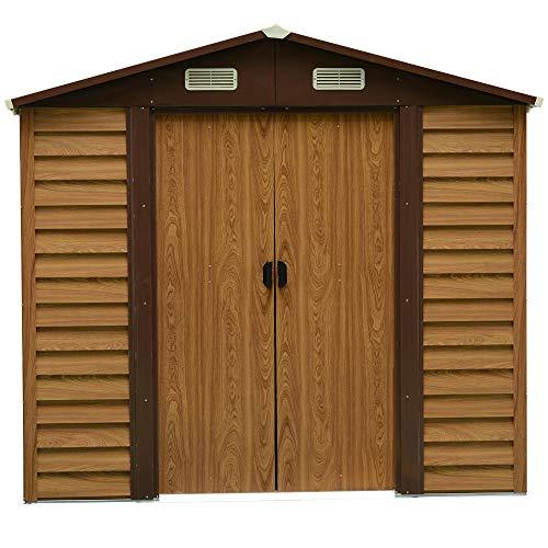 Outsunny Geräteschuppen Geräteschrank Schuppen Gerätehaus Gartenhaus 4 Fenster Holzmaserungsimitat L152 x B2357 x H2087 cm