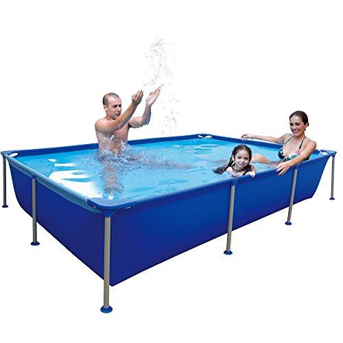 Jilong Passaat Swimming Pool 258x179x66 cm rechteck Becken Stahlrohr Schwimmbecken Stahlrahmen Schwimmbad Familienpool Ersatzbecken ohne Zubehör für Garten und Terasse