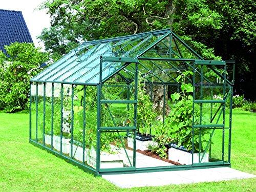 Gartenwelt Riegelsberger Gewächshaus Uranus - Ausführung 11500 ESG 3 mm dunkelgrün Fläche ca 115 m² mit 4 Dachfenster Sockel 254 x 441 m