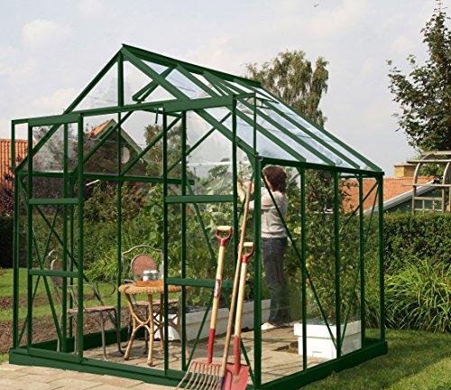Gartenwelt Riegelsberger Gewächshaus Uranus - Ausführung 6700 ESG 3 mm dunkelgrün Fläche ca 67 m² mit 2 Dachfenster Sockel 254 x 254 m