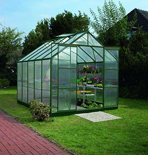 Gartenwelt Riegelsberger Gewächshaus Uranus - Ausführung 8300 HKP 6 mm dunkelgrün Fläche ca 83 m² mit 4 Dachfenster Sockel 254 x 317 m