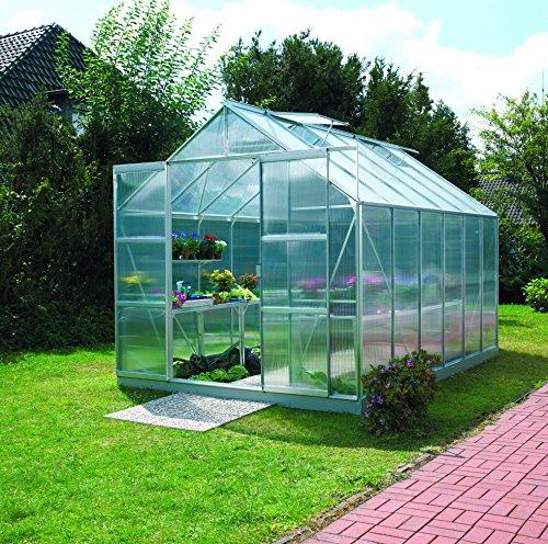 Gartenwelt Riegelsberger Gewächshaus Uranus - Ausführung 9900 HKP 6 mm Alu Fläche ca 99 m² mit 4 Dachfenster Sockel 254 x 379 m