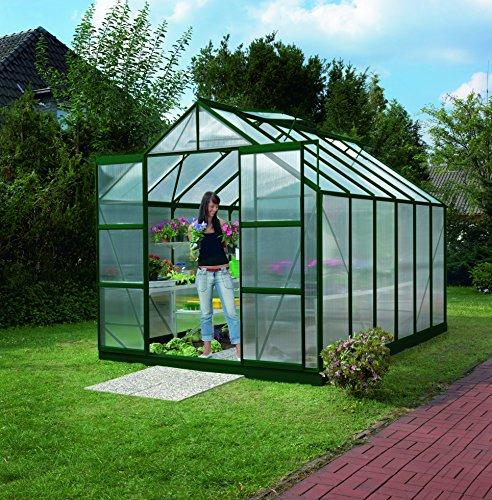 Gartenwelt Riegelsberger Gewächshaus Uranus - Ausführung 9900 HKP 6 mm dunkelgrün Fläche ca 99 m² mit 4 Dachfenster Sockel 254 x 379 m