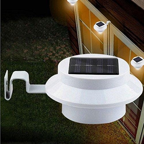 D DOLITY Solarlampe LED Dachrinnen Außenlampe Leuchte für Garten Außen - Weiß Weißes Licht