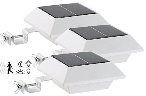 Lunartec Aussenbeleuchtung Solar-LED-Dachrinnenleuchte 160 lm 2 W PIR-Sensor weiß 3er-Set Solar LED Leuchten