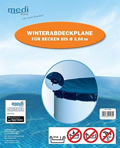 Abdeckplane Pool rund 350-360 cm Winterabdeckplane - 180gm² - Poolplane