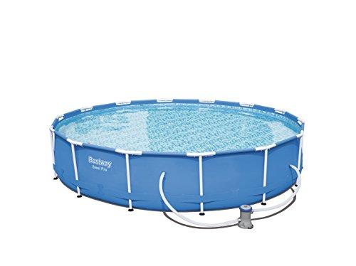 Bestway Steel Pro Frame Pool Set rund mit Kartuschenfilterpumpe 427x84 cm blau