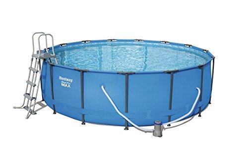 Bestway Steel Pro MAX Frame Pool Komplettset rund mit Kartuschenfilterpumpe Leiter Boden- und Abdeckplane 457x122 cm blau