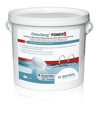 BAYROL Chlorilong POWER 5 - Pool Desinfektion - 5 in 1 Chlortabletten 250g sehr hoher Aktivchlor Gehalt langsam löslich - 5 kg