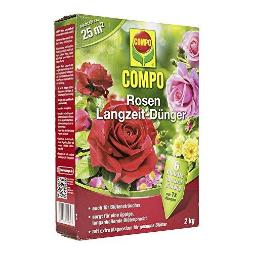 COMPO Rosen Langzeit-Dünger für alle Arten von Rosen Blütensträucher sowie Schling- und Kletterpflanzen 6 Monate Langzeitwirkung 2 kg 25m²