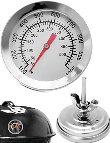 HOMETOOLSEU - Temperatur-Beständiges analoges BBQ Grill Koch Thermometer  zum Nachrüsten für BBQ Grill Töpfe Bräter Räucherofen  10°C - 500 °C