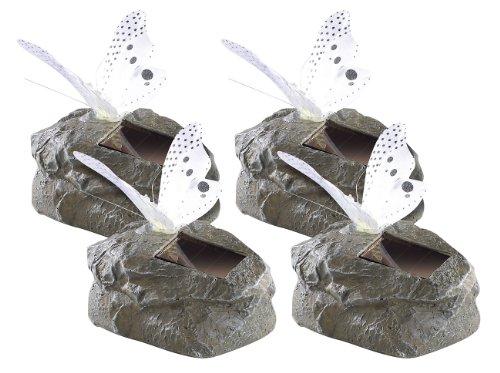 Lunartec Schmetterling-Lampen Solar-LED-Schmetterling auf grauem Kunststein 4er-Set Garten-Deko mit Schmetterling