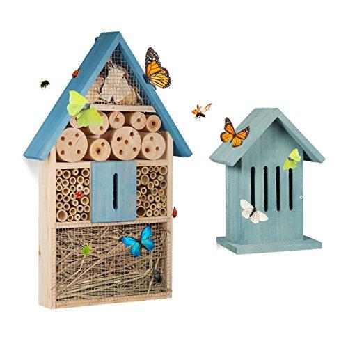2 tlg Insektenhotel Set Schmetterlingshaus aus Holz Schmetterlingshotel zum Aufhängen Nisthilfe Insektenhaus blau