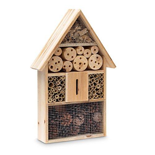 Relaxdays Insektenhotel HBT 48 x 31 x 10 cm Bienenhotel aus Naturmaterialien als Unterschlupf für Käfer Bienen Wespen und Schmetterlinge Insektenhaus aus Holz mit Spitzdach natur