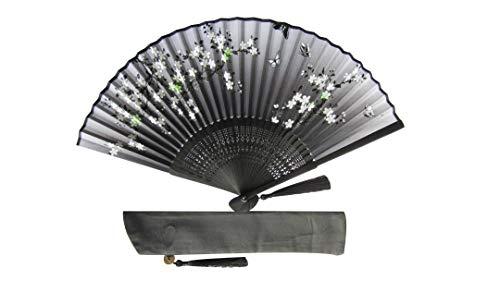 CHN Elements-Fan-4-Orientalischer Bambus-Fächer mit Fächerabdeckung Schmetterlings- und Kirschblüten-Design Schwarz