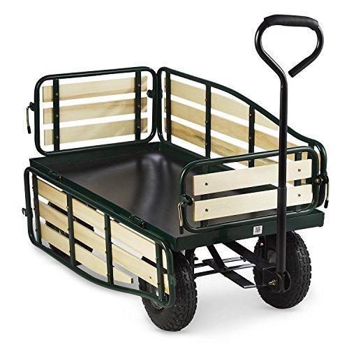 Waldbeck Ventura • Bollerwagen • Handwagen • abklappbare Seitenteile • witterungsbeständig • 300 kg Belastbarkeit • Transport Schwerer Lasten • Stabiler Rahmen • großer Laderaum • grün