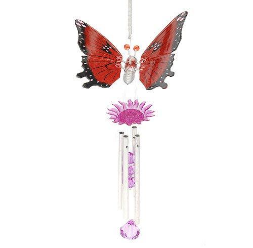 Dekoratives Windspiel Schmetterling Feng-Shui Rot 40cm
