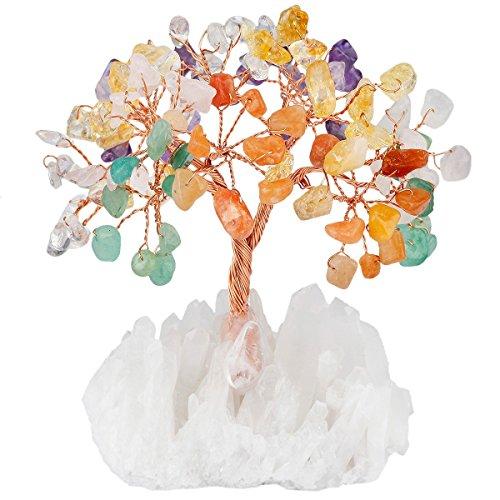 mookaitedecor Trommelstein Steine und Cluster Basis Heilstein Geld Edelstein Feng Shui Baum der Leben Viel Glück Reichtum Dekoration