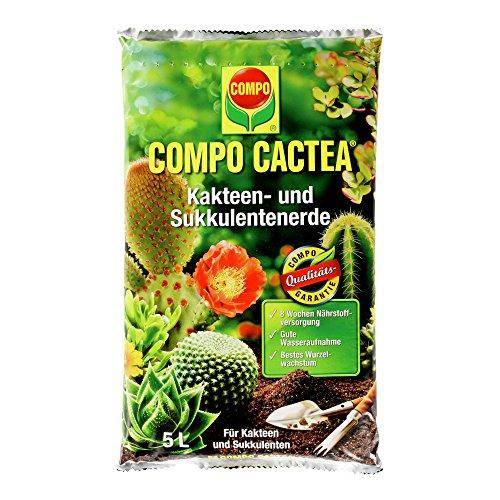 COMPO CACTEA Kakteen- und Sukkulentenerde mit 8 Wochen Dünger für alle Kakteenarten und dickblättrige Pflanzen Kultursubstrat 10 Liter