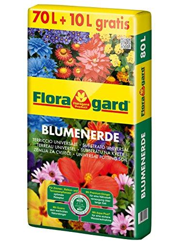 Floragard Blumenerde 70 L  10 L gratis • Universalerde • für  Balkon- Kübel- und Zimmerpflanzen • mit dem Naturdünger Guano • 80 L