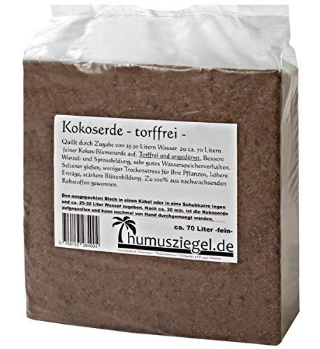 Humusziegel - gepresste Blumenerde aus Kokosfaser - Kokosblumenerde 70 Liter