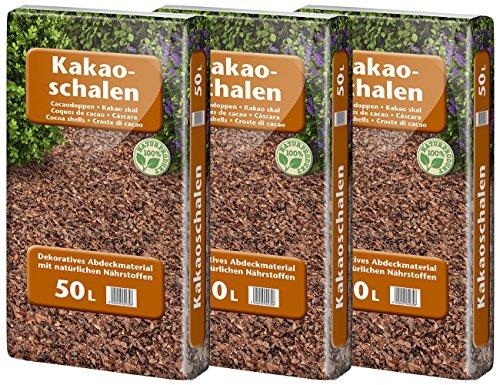 Floragard Kakaoschalen Mulch 3x50 L - zum Mulchen von Pflanzflächen Gehölz- und Staudenbeeten - natürliche Inhaltsstoffe - unterdrückt Unkrautwuchs - 150 L