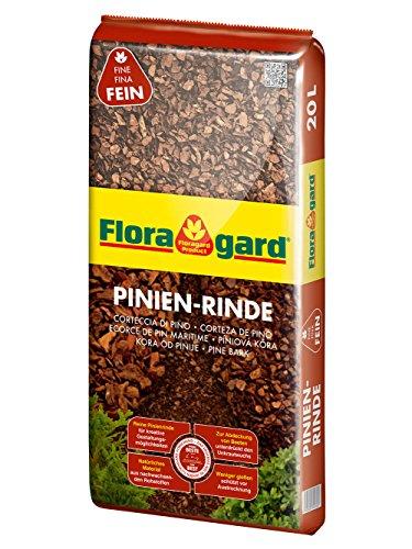 Floragard Mulch Pinienrinde 2-8 mm 20 L • superfein • dekorativer Bodenbelag • unterdrückt Unkrautwuchs • naturbelassen • für mediterranes Flair • auch zur Kübel-Abdeckung