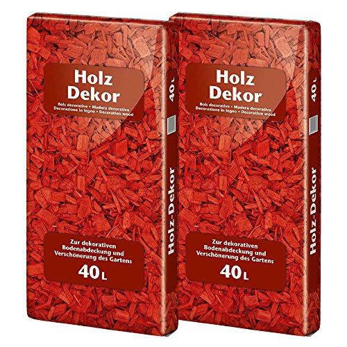 Floragard Mulch Universal Holzdekor rot 2x40 L • Rindenmulch • in roter Färbung • zum Abdecken • dekorativer Bodenbelag • unterdrückt Unkrautwuchs • 80 L