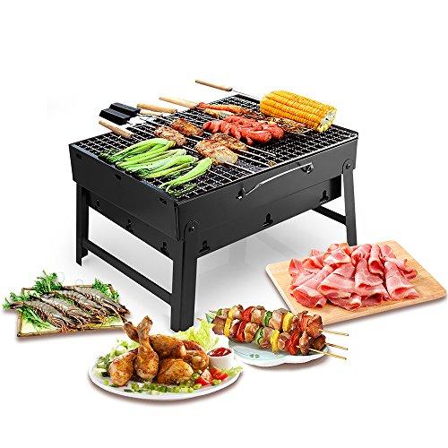 Uten Holzkohlegrills BBQ Portable Smoker Grill Faltbare Grillwagen Outdoor Tischgrills Picknickgrill für Garten Camping Party Barbecue